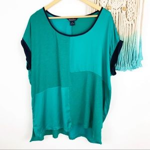 Lucky Brand Green Rolled Sleeve Knit Top Plus